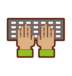 Computer keyboard with hands user vector