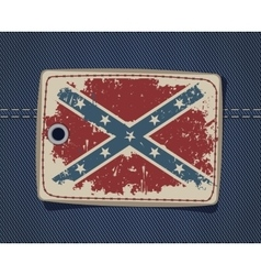 Confederate flag on label on jeans vector