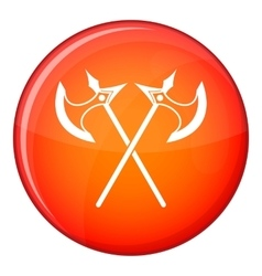 Crossed battle axes icon flat style vector image vector image