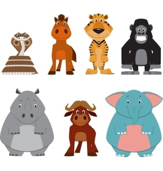Cute colorful exotic animals collection vector image