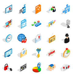 designer icons set isometric style vector image vector image