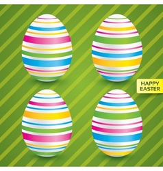 Easter white eggs with colorful patterns set vector image vector image