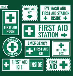 first aid sign set vector image vector image
