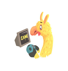 funny llama character playing computer games cute vector image