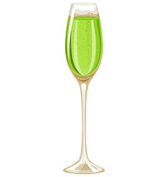 Green champagne in wine glass vector