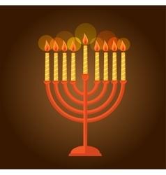 Hanukkah menorah greeting on brown background vector