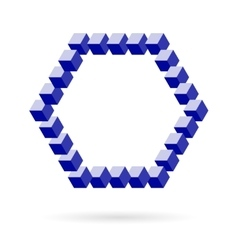 Hexagonal Frame Of Isometric Cubes Over vector image vector image