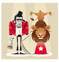 Lion tamer with lion vector