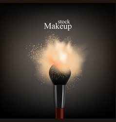 Makeup brush powder background vector