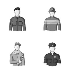 Military fireman artist policemanprofession vector