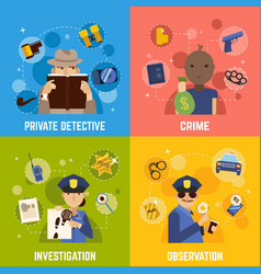 Private detective concept icons set vector