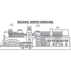 Raleigh north carolina architecture line skyline vector