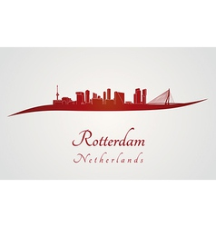 Rotterdam skyline in red vector