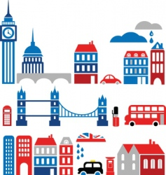 silhouettes of european cities lond0n vector image