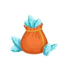 Small sack of blue crystal gems hidden treasure vector