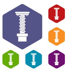 Spiral tool icons set hexagon vector