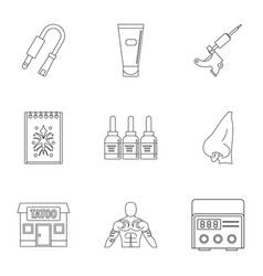 tattoo salon specialist icon set outline style vector image