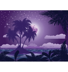 Tropical island at night vector