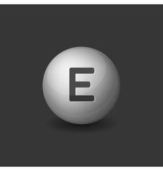 Vitamin e silver glossy sphere icon on dark vector
