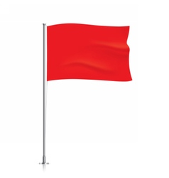 Waving red flag template vector image