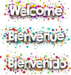 Welcome paper banner with confetti vector
