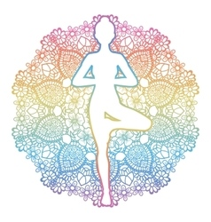 Women silhouette Yoga tree pose Vrikshasana vector image