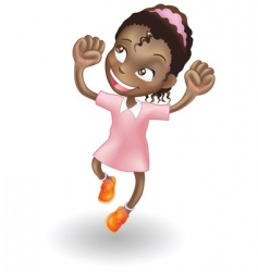 young girl jumping for joy vector image vector image