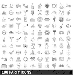 100 party icons set outline style vector image