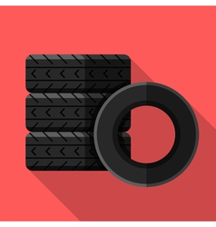 Colorful car tires icon in modern flat style with vector