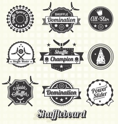 Retro shuffleboard labels and icons vector