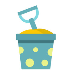 blue bucket of sand and shovel icon isolated vector image