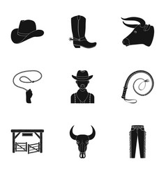 a set of pictures about cowboys cowboys on the vector image