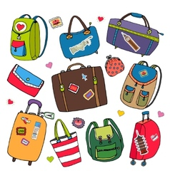 set of bags backpacks and suitcases vector image