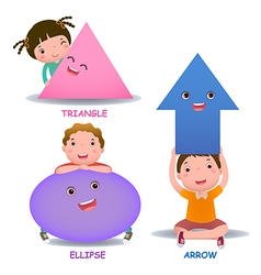 Cute little cartoon kids with basic shapes ellipse vector
