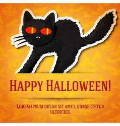 Happy halloween greeting card with black startled vector