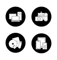 Consumer electronics black icons set vector