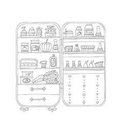 Doodle refrigerator with food drawn by hand vector