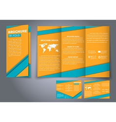Template triple folding brochures vector