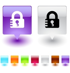 Lock square button vector image