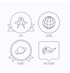 Ufo planet and fire flame icons vector