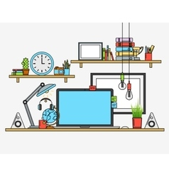 Modern workplace creative office vector