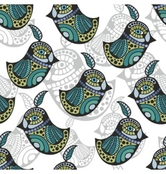 Artistic pattern with colorful retro birds vector image