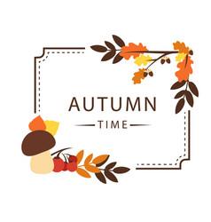 autumn time maple leaf square frame background vec vector image