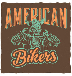 biker t-shirt label design vector image vector image