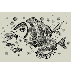 black and white of fish vector image