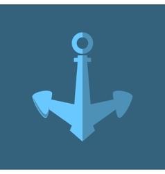Blue anchor ship equipment vector
