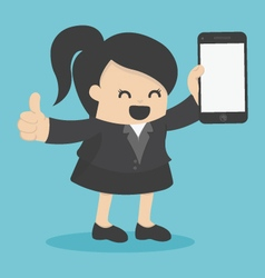 business woman showing smartphone vector image vector image