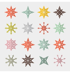 Colorful Retro Cut Paper Stars Set vector image vector image