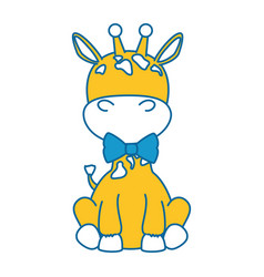 cute giraffe with bowntie character icon vector image