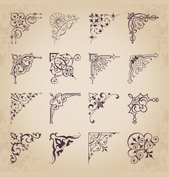 decorative calligraphic corners for design vector image